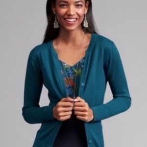 Cabi Teal Ever Cardigan with Gray Mesh Back